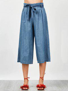 Tencel Bowknot Wide Leng Capri Pants - Denim Blue S