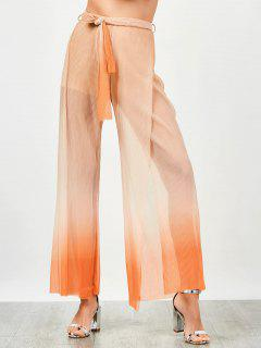 Surplice Slit Shiny Wide Leg Pants - Orange M