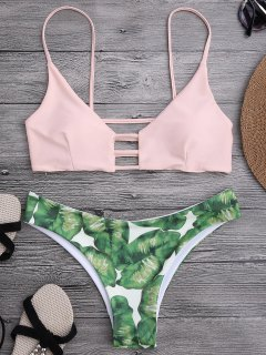 Ladder Cut Palm Tree Print Bikini - Shallow Pink L