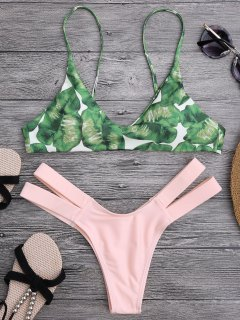 Palm Tree Bikini Top And Bandage Swim Bottoms - Shallow Pink M