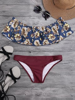 Off The Shoulder Overlay Floral Bikini - Burgundy L