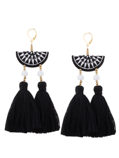 Geometric Embroidery Beads Ethnic Tassel Earrings - Black