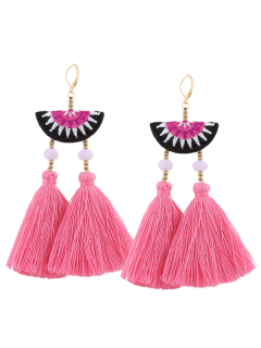 Geometric Embroidery Beads Ethnic Tassel Earrings - Pink