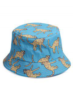 Cartoon Leopard Printed Bucket Hat - Blue
