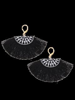 Fan-Shaped Embroidery Ethnic Tassel Earrings - Black