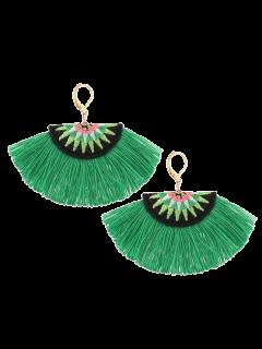 Fan-Shaped Embroidery Ethnic Tassel Earrings - Green