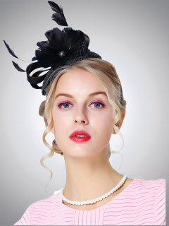 Cambric Feather Floral Shpae Pillbox Hoop Hat - Black