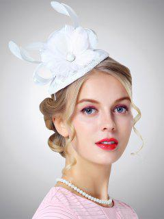 Cambric Feather Floral Shpae Pillbox Hoop Hat - White
