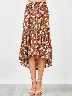 Ruffles Asymmetrical Beach Midi Skirt - Floral L
