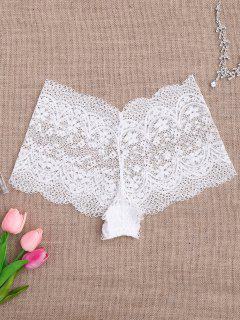 Sheer Crochet Lace Panties - White M