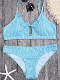 Cami Straps Padded Stripe Bikini - Bleu Clair M