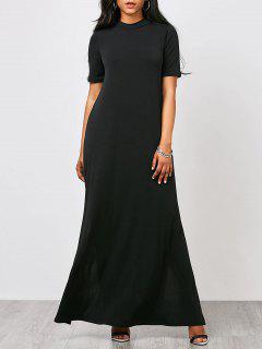 High Neck Slit Maxi Prom Dress - Black M