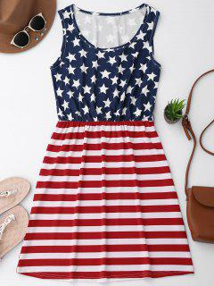 Elastic Waist Patriotic American Flag Dress - Red With White L