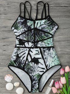 Piping Tropical Print One Piece Swimsuit - Green And Black L