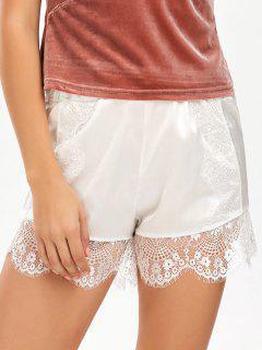 Eyelash Lace Insert Satin Shorts - White