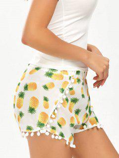 Pineapple Print Pom Pom Hem Dolphin Shorts - White L