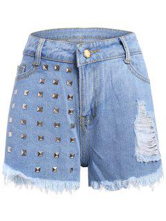 Studed Frayed Denim Shorts - Light Blue M