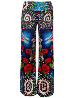 Pantalones De Pierna Ancha De Impresión Floral De Cintura Elástica - Multi Xl