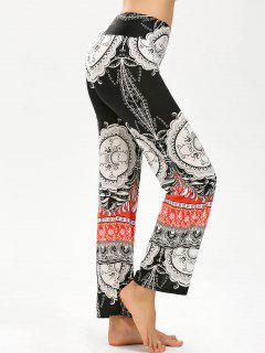 Tribal Print Elastic Waist Wide Leg Pants - Black L