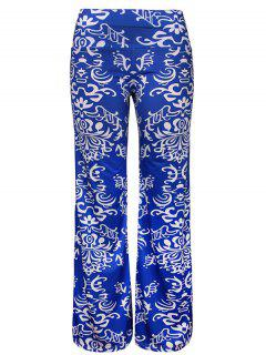Tribal Print Wide Leg Pants - Blue Xl