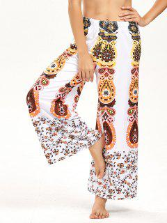 High Waisted Floral Print Wide Leg Pants - White M