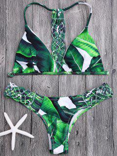 Crochet Panel Palm Leaves Bikini Set - Green S