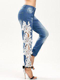 Höhle Jeans Mit Spitzeeinsatz - Blau & Weiß Xl