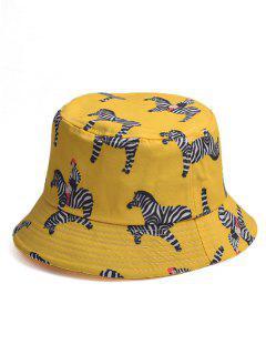 Cappello A Secchio Con Stampa A Zebra Dei Cartoni Animati - Giallo