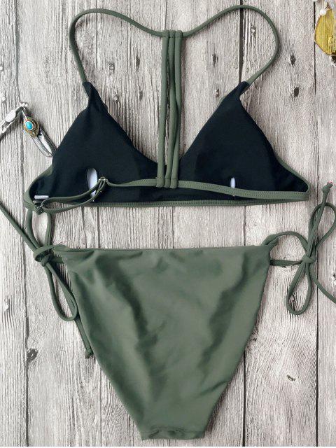 Ensemble de bikini brassière slip dos T - Vert S Mobile