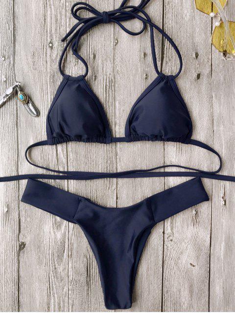 chic Halter Plunge High Cut Bikini Set - PURPLISH BLUE S Mobile