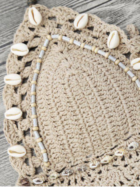 Bikini en crochet perlé de coquillages - Kaki Clair S Mobile