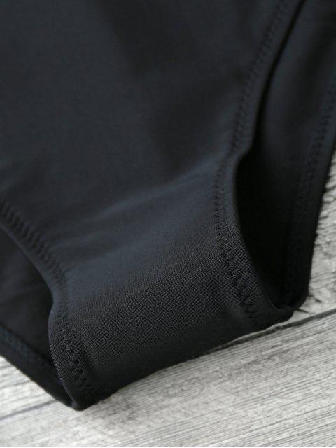 ladies T Back Deep V Neck One Piece Swimsuit - BLACK S Mobile