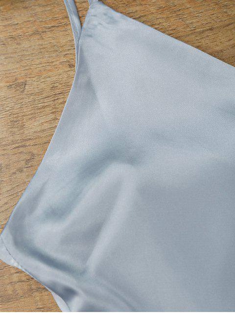 shop Cami Wrap Slip Dress - BLUE GRAY L Mobile