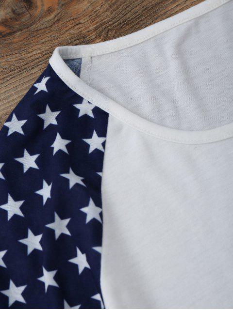 T-shirt américain de drapeau américain à manches courtes Raglan - Blanc S Mobile