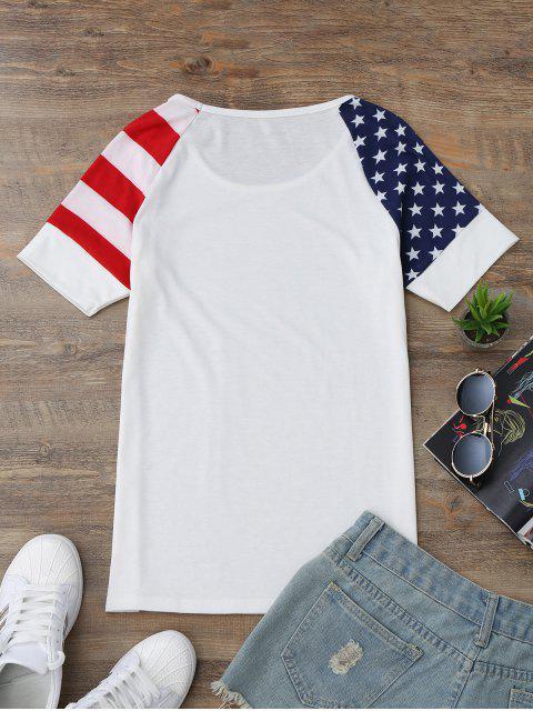 T-shirt américain de drapeau américain à manches courtes Raglan - Blanc M Mobile