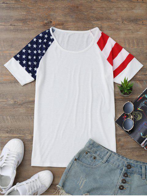 T-shirt Imprimé Drapeau Américain Manches Raglan - Blanc M Mobile