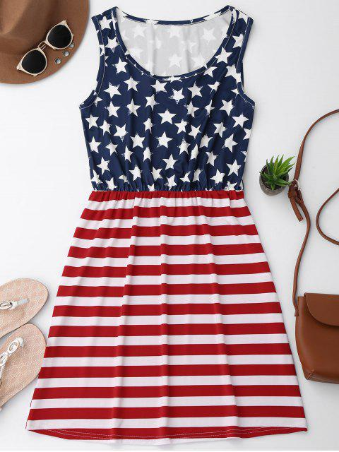 fashion Elastic Waist Patriotic American Flag Dress - RED WITH WHITE S Mobile