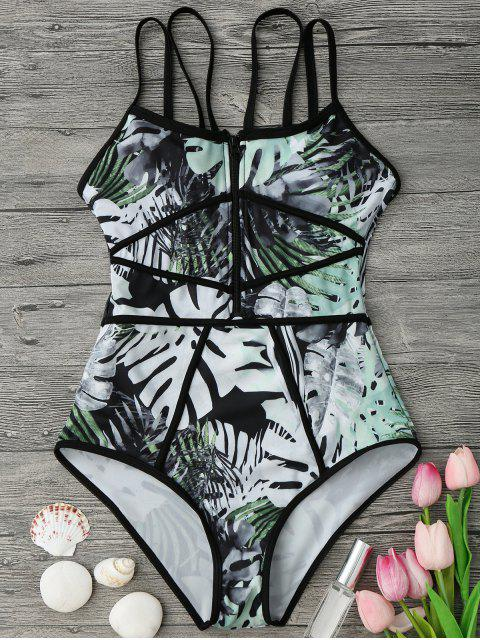 outfit Piping Tropical Print One Piece Swimsuit - GREEN AND BLACK L Mobile