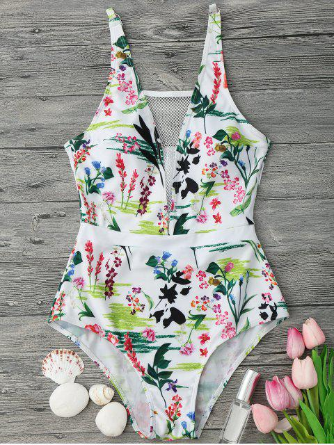latest Fishnet Insert Floral One Piece Swimsuit - WHITE M Mobile