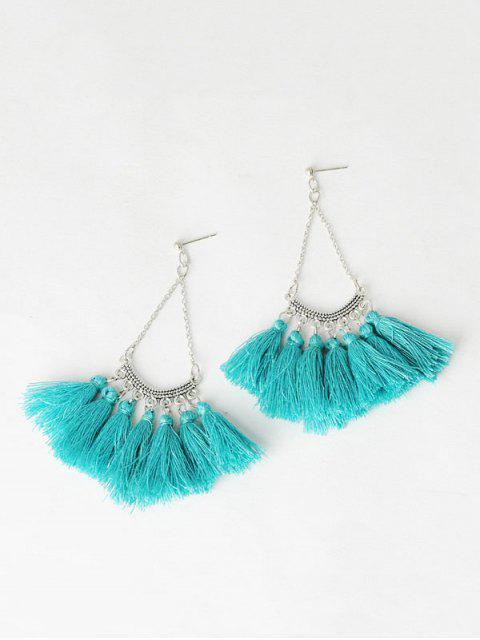 shop Fan-Shaped Tassel Chain Earrings - BLACKISH GREEN  Mobile