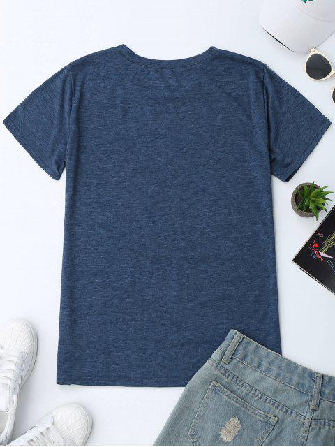 fancy Crew Neck Slogan Print Graphic T-Shirt - BLUE XL Mobile