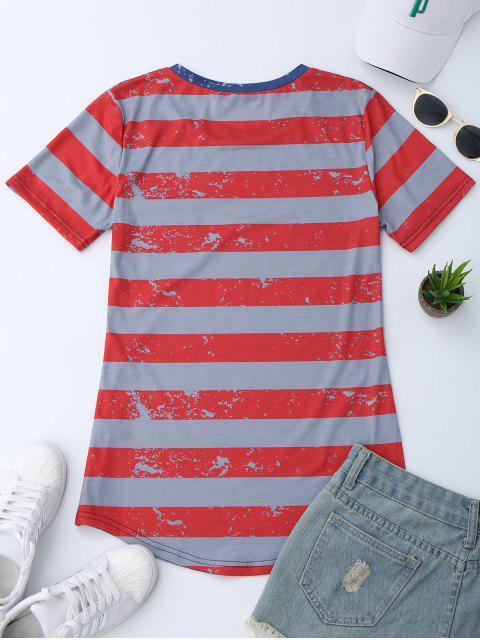 chic Pocket Patriotic America Flag T-Shirt - BLUE L Mobile