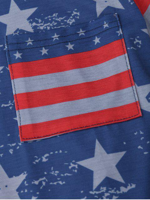 T-shirt de drapeau patriotique américain de poche - Bleu XL Mobile