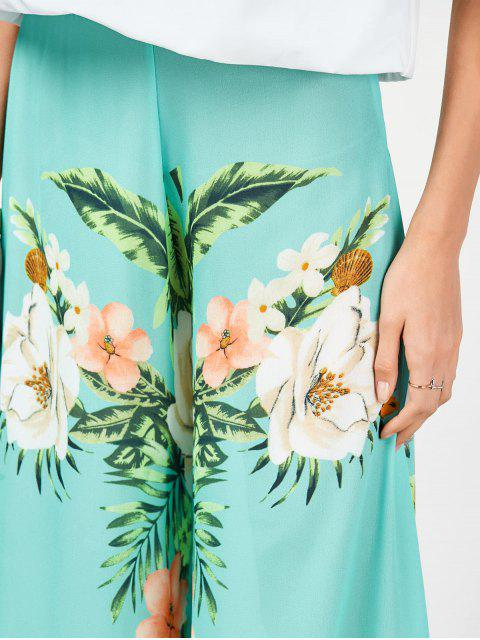 hot High Waisted Chiffon Floral Wide Leg Pants - FLORAL M Mobile