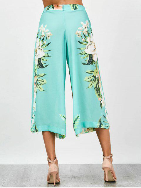outfit High Waisted Chiffon Floral Wide Leg Pants - FLORAL S Mobile