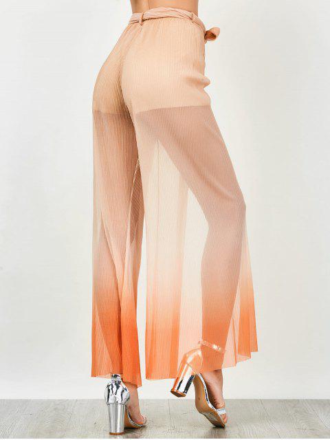 latest Surplice Slit Shiny Wide Leg Pants - ORANGE L Mobile