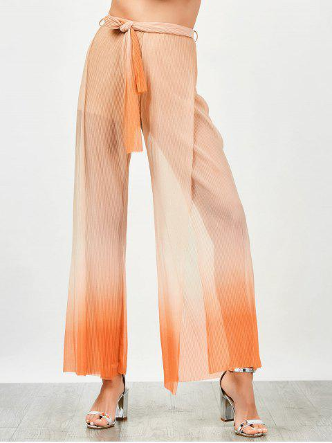 trendy Surplice Slit Shiny Wide Leg Pants - ORANGE M Mobile