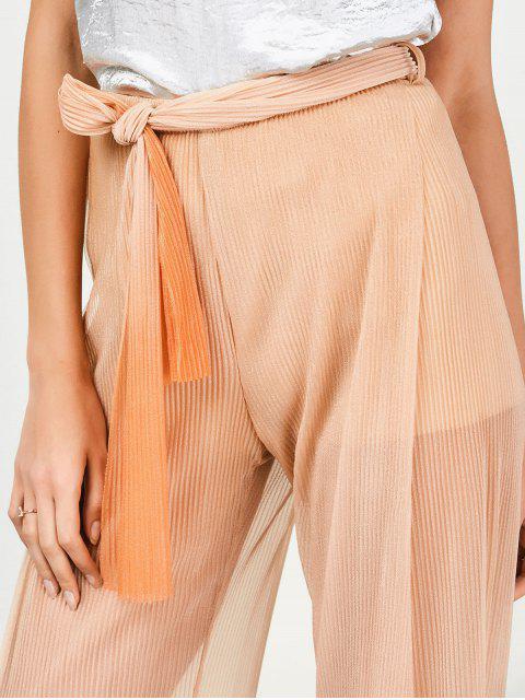 fashion Surplice Slit Shiny Wide Leg Pants - ORANGE S Mobile