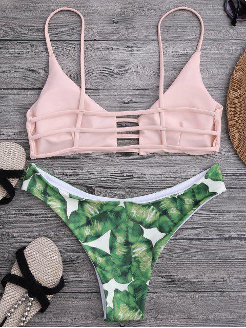 lady Ladder Cut Palm Tree Print Bikini - SHALLOW PINK M Mobile