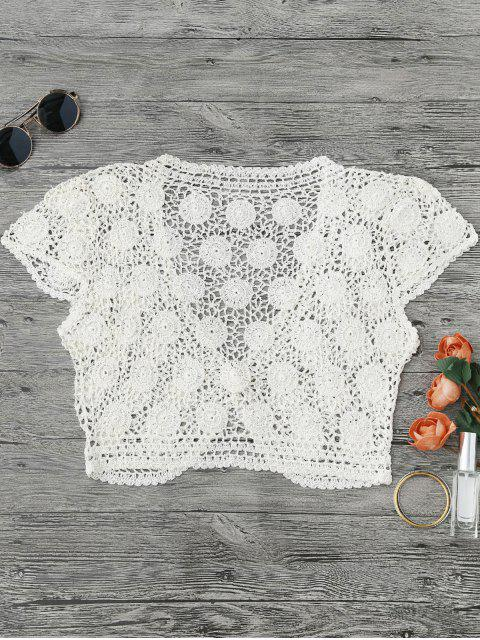 One Button Plunging Neck Crochet Cover Up - Blanc L Mobile